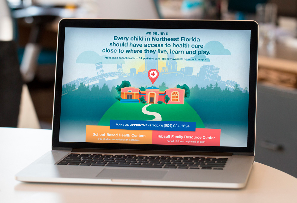 Baptist School Base Health Landing Page on a Laptop