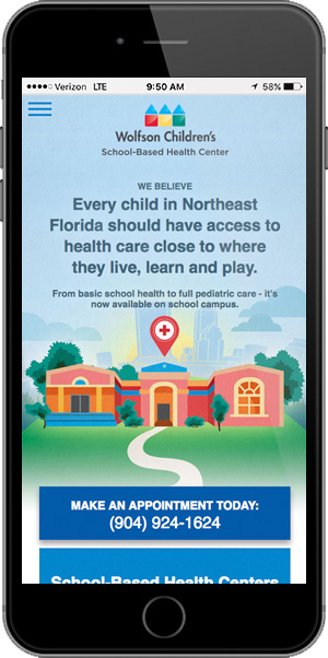 Baptist School Base Health Landing Page on Mobile