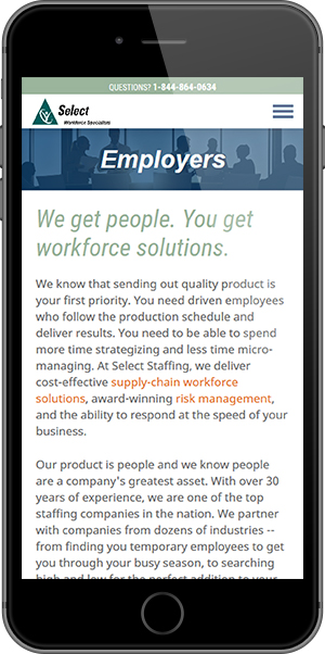 Select Staffing Mobile Employers Page