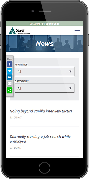 Select Staffing Mobile News Page